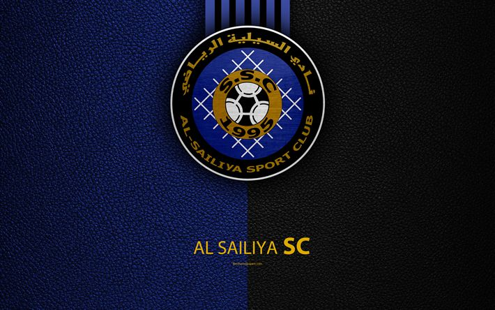 Download wallpapers Al Sailiya SC, 4k, Qatar football club, leather texture, Al Sailiya logo, Qatar Stars League, Doha, Qatar, Premier League, Q-League