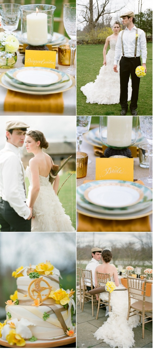 From www.stylemepretty.com....Hunger games inspired wedding shoot...soooo cool  (@Sare Greenlaw and @Cathy Cloutier): Games Themed, Games Inspiration, Games Receptions, Inspiration Shooting, Hunger Games Them, Future Weddings, Dresses, Hungar Games, Themed Weddings