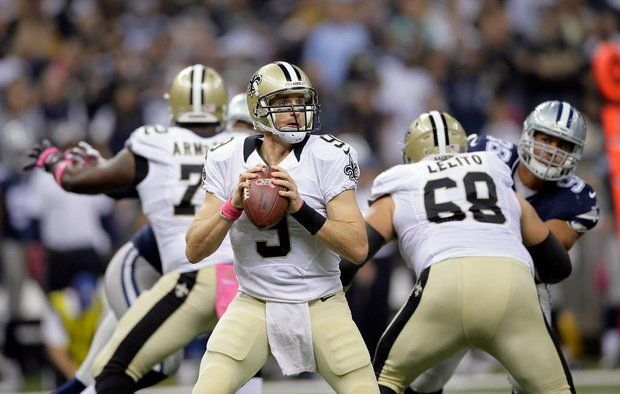 Drew Brees' streak of home games with at least 1 TD sets NFL record -    Saints vs cowboys 2015 Drew Brees to Mark Ingram, Saints vs Cow