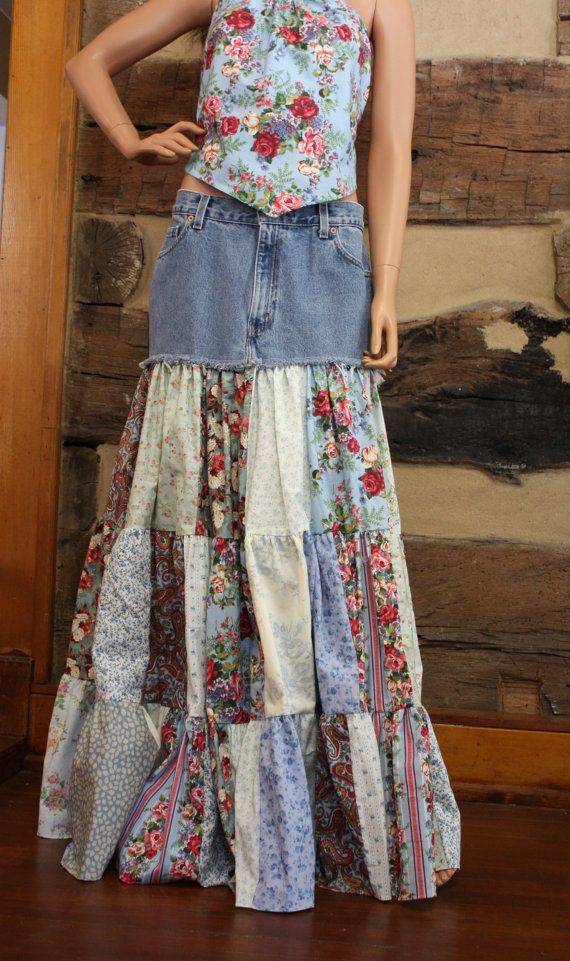 Upcycled Denim Skirt Hippie Patchwork Skirt Long Gypsy Skirt Hippie Clothes Ready to Ship
