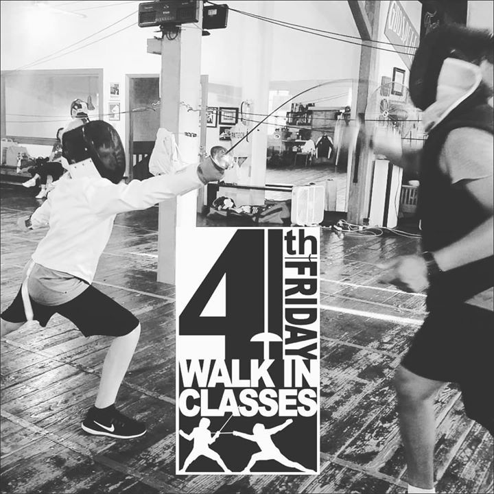 Today Friday 23 February 2018 is Fourth Friday!  Ever wanted to try out fencing? Maybe just one time? Not sure if you want to do a whole month?  Try the WALK-IN FENCING CLASS PROGRAM!  Anybody (ages 7) can sign up for one of the classes this Friday. Pre-registration is not required! All equipment is provided.  Bring your friends! Bring your spouse! Bring your girlfriend/boyfriend! Everyone played swords when they were kids! Whether you pretended you were a Robin Hood Luke Skywalker or Jack…