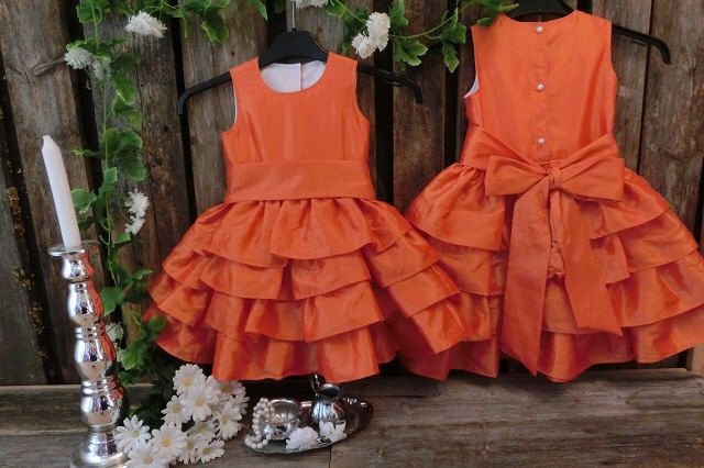 Orange flower girl dress.Flower girl ruffle dress.Toddler girls special occasion dress.Formal dress. by englaCharlottaShop on Etsy https://www.etsy.com/listing/217525442/orange-flower-girl-dressflower-girl