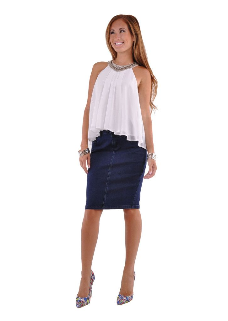 Posh Pencil Denim Skirt # KN-0598 | Denim skirts Products and Skirts
