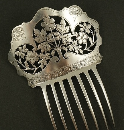 1850 Antique silver hair comb, leaf engraving