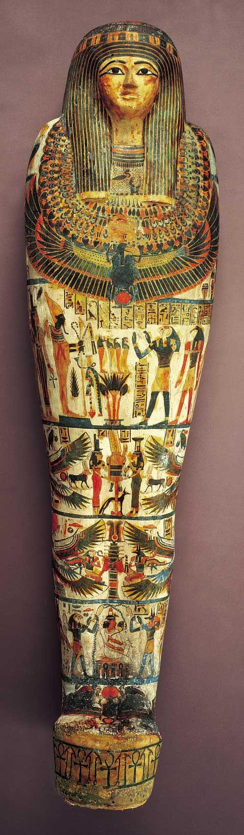 Mummy Case of Amen-Nestawy-Nakht c.900 B.C., Egyptian, Dynasty 22 linen, plaster, and pigment. Saint Louis Art Museum
