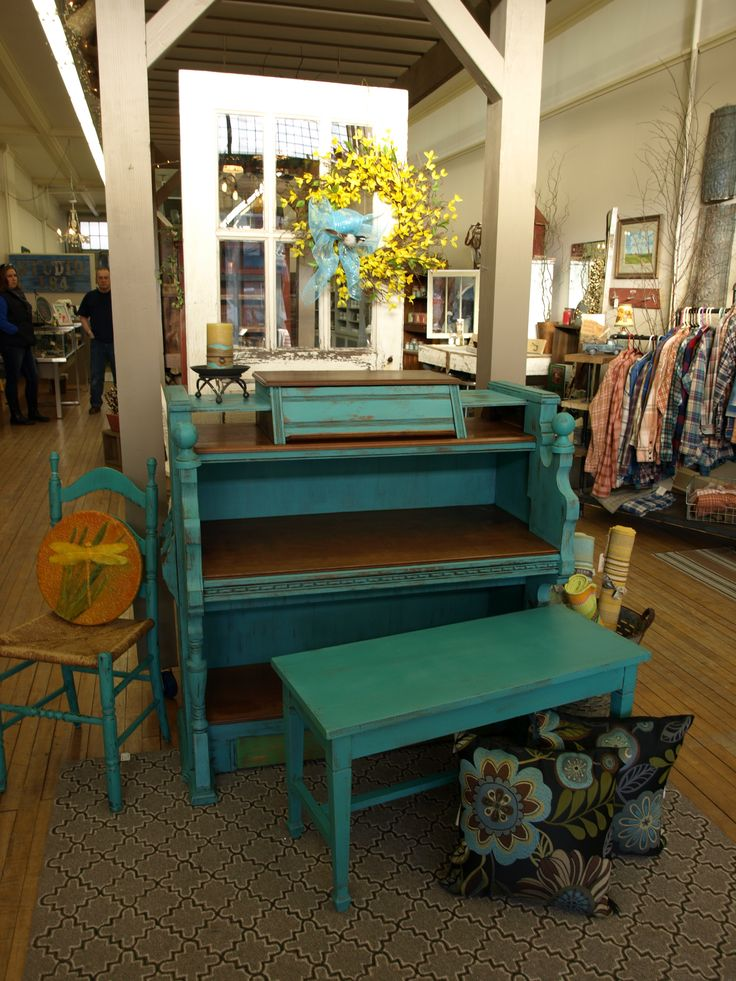 Church organ converted into a desk. Painted with Annie Sloan Chalk Paint® in Florence and Antibes Green. By Studio 184 in Madison, WI