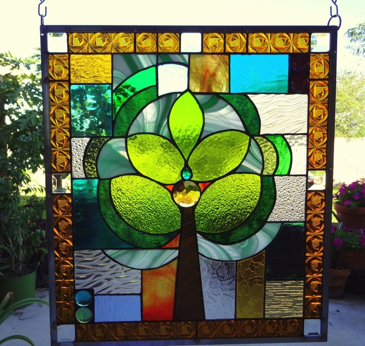 """Stained Glass Window Panel """"Green Tree of Life"""""""