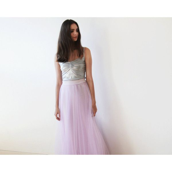 Cyber Week Lilac Tulle Maxi Skirt Long Bridesmaids Tulle Skirt Maxi... ($76) ❤ liked on Polyvore featuring skirts, silver, women's clothing, long tulle skirt, floor length skirt, maxi skirt, long tulle maxi skirt and tulle maxi skirt