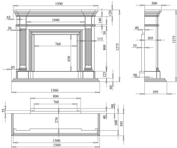 Классический вид камина - каталог дизайн проекты каминов в 3d