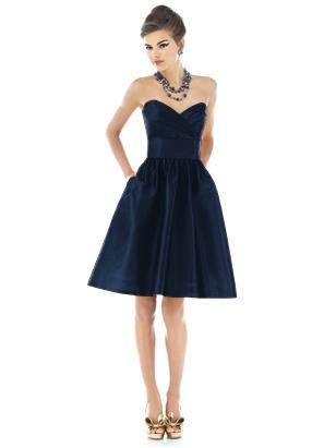 Alfred Sung Style D542 (Fabric: Peau De Soie purchase swatch) -- Strapless cocktail length peau de soie dress with draped bodice and pleated midriff. Full shirred skirt has pockets at side seams. Also available full length as style D543.