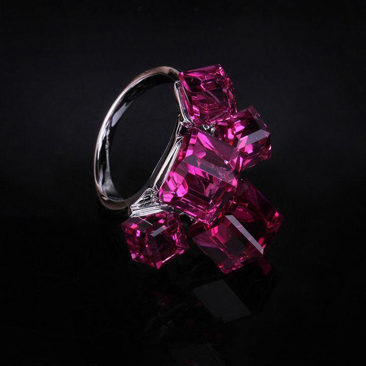 New Hot Rosa CZ Diamante Austrália Cristal Anel de Dedo para As Mulheres Festa de Casamento Engagement Jóias Bijou (AKA0014 2) em Anéis de Jóias & Acessórios no AliExpress.com | Alibaba Group