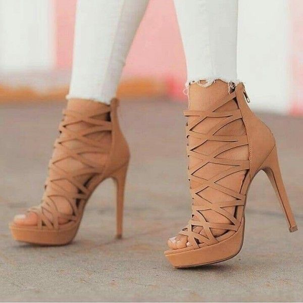 Camel Cut out Gladiator Heels Stiletto Heels Platform Sandals
