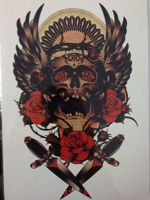 High Quality 21 X 15 CM Gold Skull Decals Body Art Decal Waterproof Tattoo http://ali.pub/9rwsc