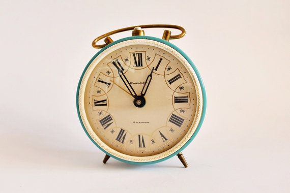 Vintage alarm clock, working condition, Soviet alarm clock, turquoise alarm clock
