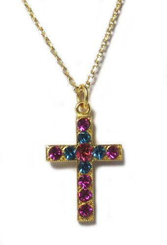 Gold Plated Swarovski Crystal Cross Pendant Necklace