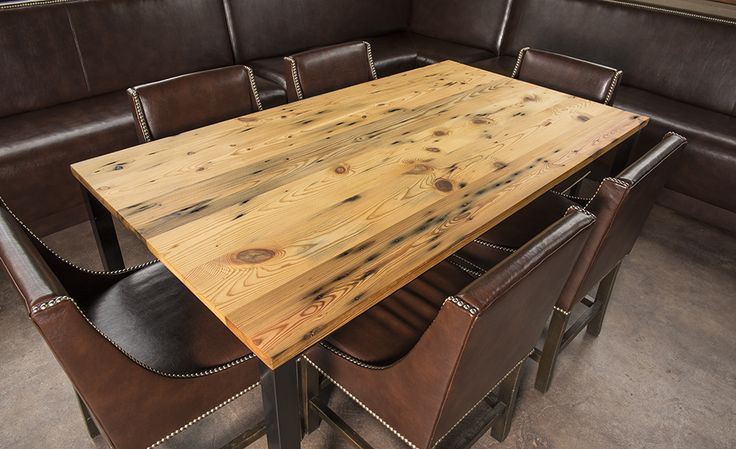 Belmont Collection 1926 reclaimed wood long leaf yellow pine Gathering table. Reclaimed from the historic Chronicle Mill