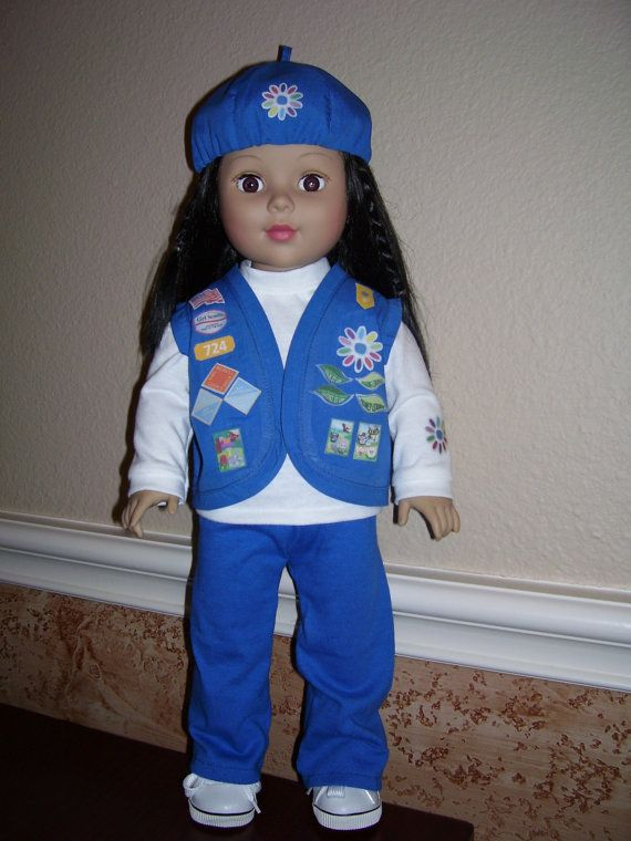 Aubs doll can match her! 18 Inch Doll Clothes  Daisy Girl Scout Uniform by dressupdollie, $20.00