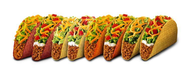 Taco bell nutrition: Reduced fat sour cream: 30 Fresco chicken soft taco: 140| chicken soft taco: 160 nacho cheese Doritos locos taco: 170 soft taco beef: 190| breakfast Egg and Cheese A.M. Grilled Taco 170