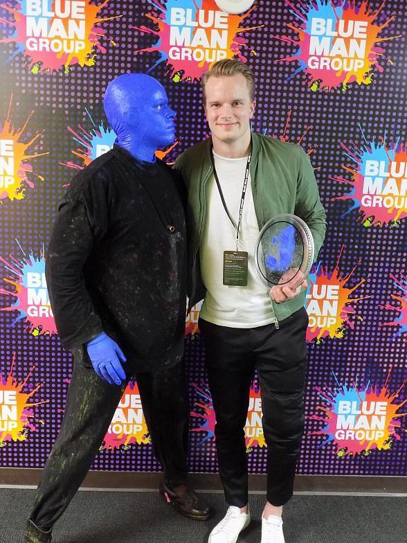 Vegas Golden Knights Goaltender Oscar Dansk Attends Blue Man Group at Luxor Hotel and Casino
