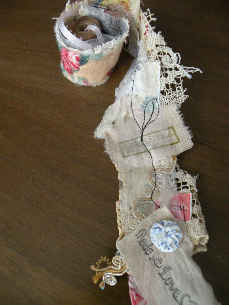 Snippet Roll - fabric strip with odds and ends stitched on