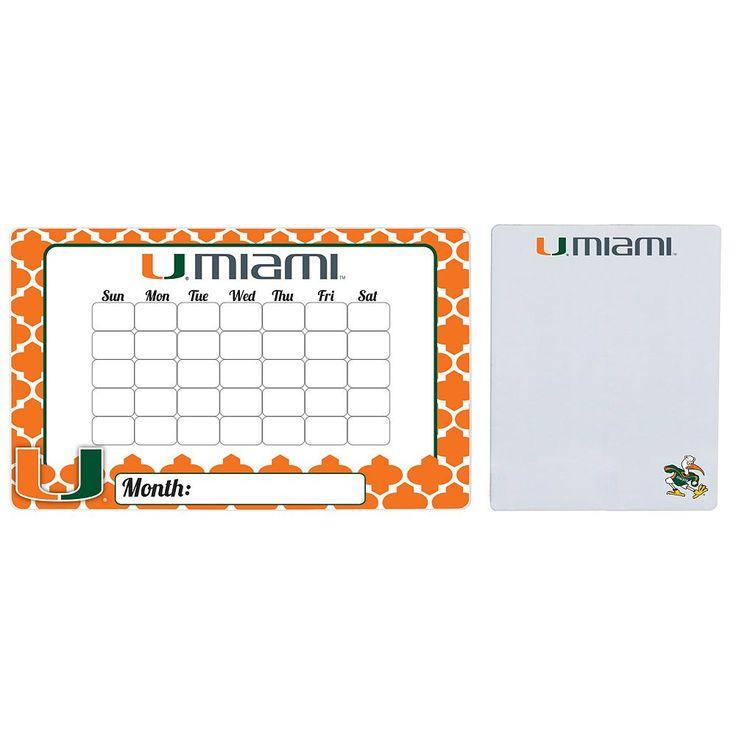 Miami Hurricanes Dry Erase Calendar & To-Do List Magnet Pad Set, Multicolor