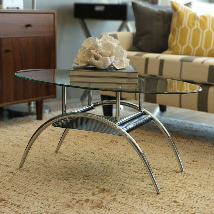 Walker Edison Oval Glass Coffee Table With Black Mesh Shelf | From  Hayneedle.com