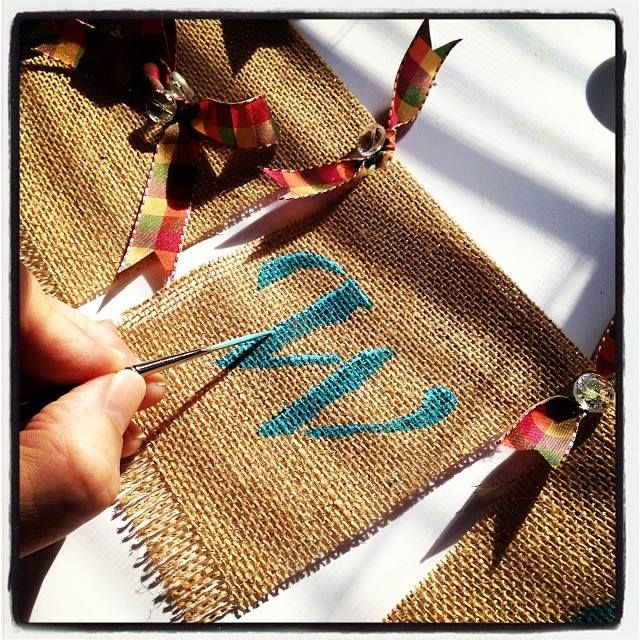 Painting my craft show booth bunting. www.willowwishdesigns.etsy.com
