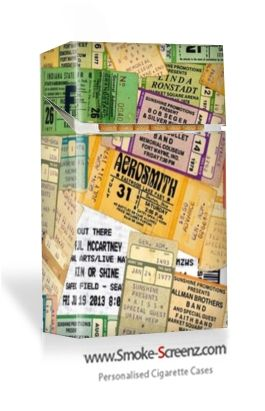 Concert Tickets montage overlaid onto a Smoke Screenz cigarette case