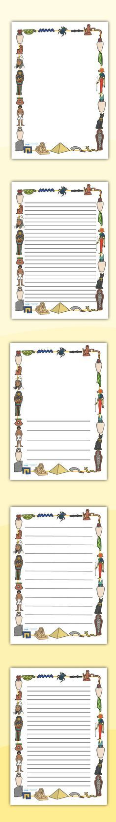 Ancient Egyptian Page Borders. Free Printables.
