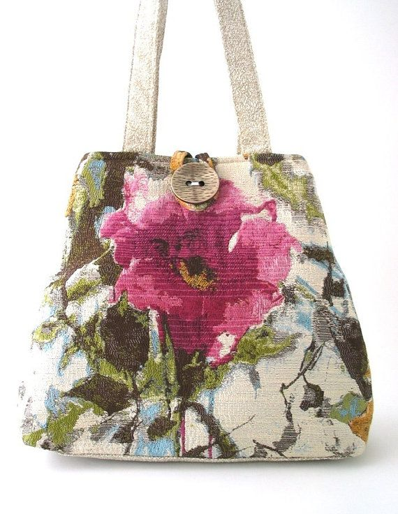 large floral tote bag pink bag shoulder bag beige by daphnenen