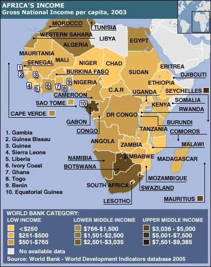 Threat: Economic Insecurity Source: BBC Poverty is a main part of Africa's problems where, on average, people earn less than $765 per year. People have argued that the rules on debt, aid and trade need reforming to help lift more African nations out of poverty.