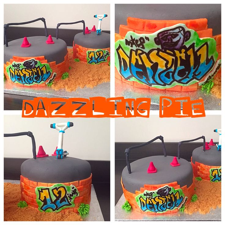 Scooter / graffiti cake made by Dazzling Pie