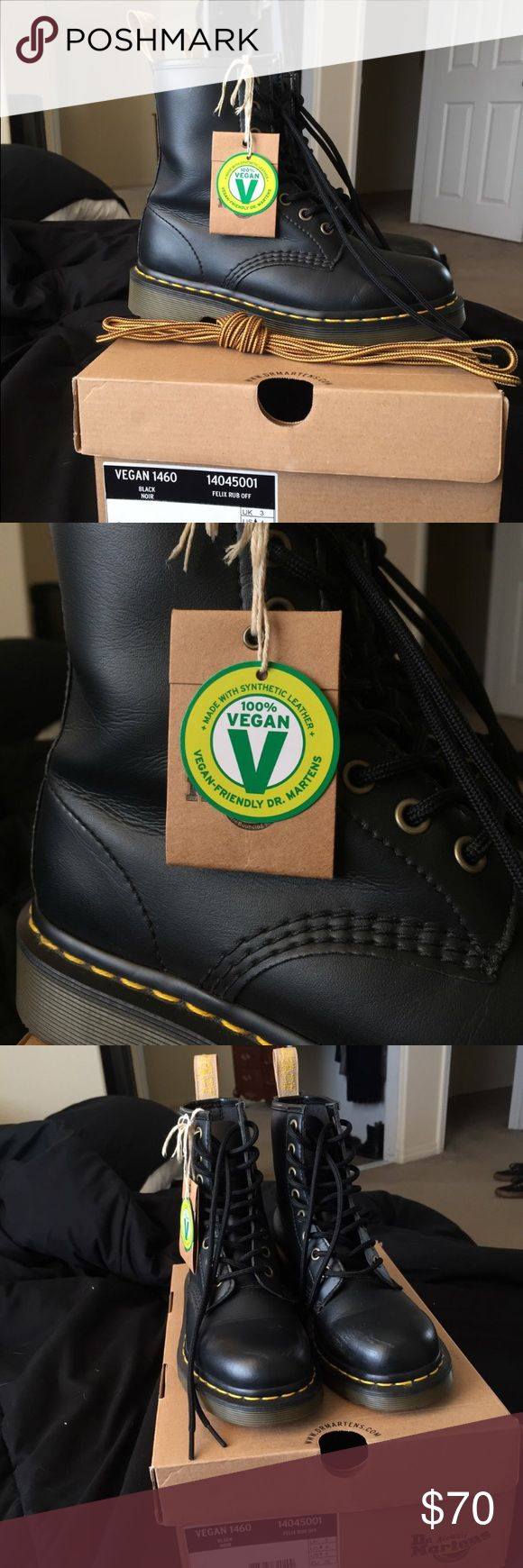 Vegan Doc Martens Doc Marten boots in a vegan black leather. Worn only a handful of times Doc Martens Shoes Combat & Moto Boots