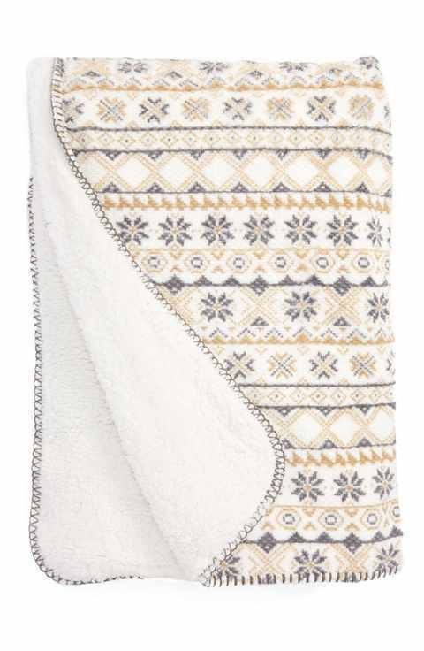 PJ Salvage Throw Blanket Sherpa Ivory Print 65