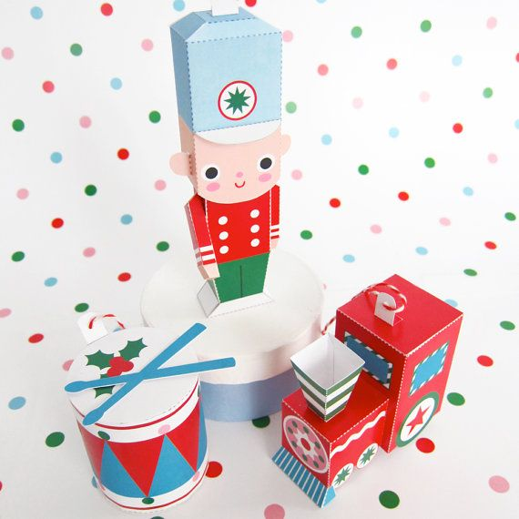 Toy Soldier, Train, Drum Ornaments Printable Paper Christmas Crafts