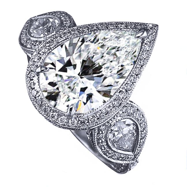 Three Stone Pear Shape Diamond Halo Engagement Ring