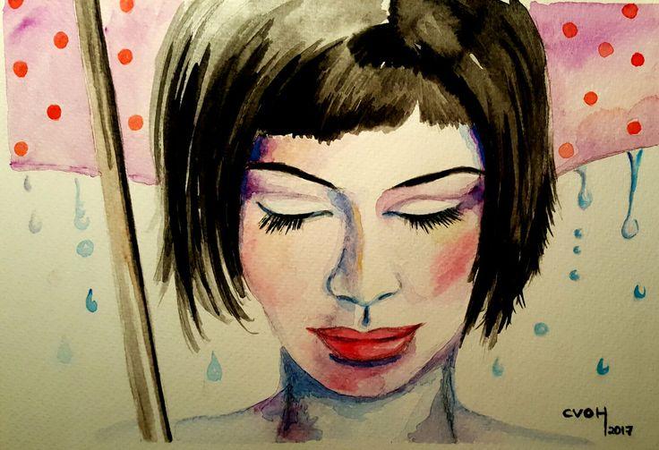 #CVOH @cvoh_chile #acuarela #watercolor #aquarelle #woman #winter #umbrella #Chile #2017 #Agosto