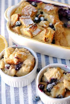 {Healthy} Blueberry Lemon Bread Pudding - Eat Yourself Skinny