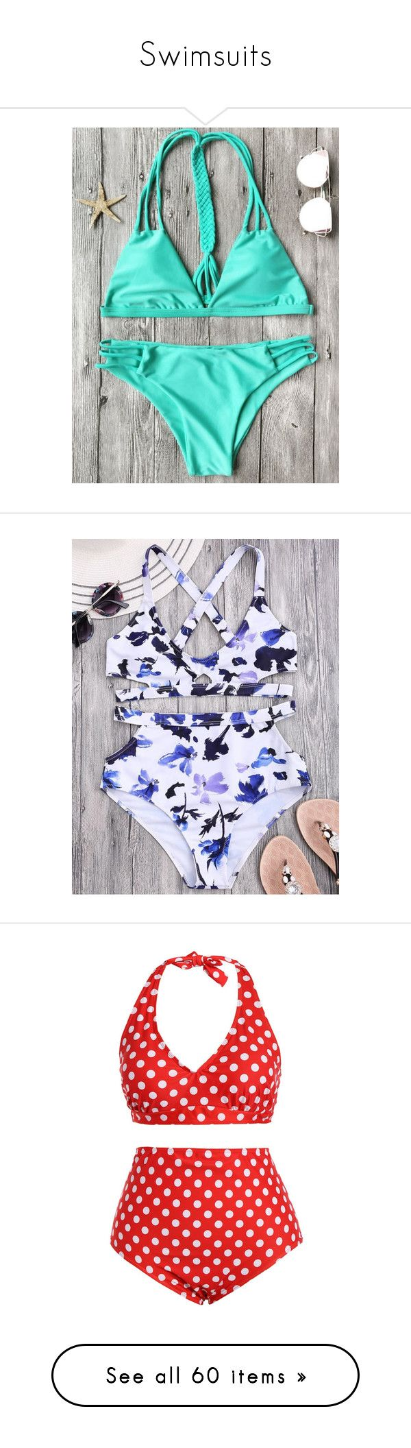 """Swimsuits"" by stephiebear123 ❤ liked on Polyvore featuring swimwear, bikinis, women's plus size swimwear, bikini swimwear, pin up bikini, halter top, plus size bikini, triangle bikinis, triangle swimwear and floral bikini"