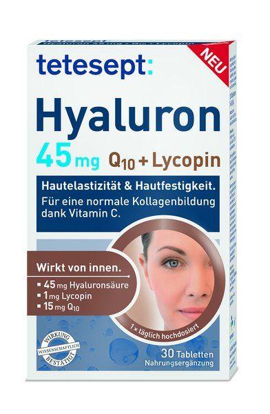 """Ergänzend zu einer ausgewogenen Ernährung bieten sich hier bei einem erhöhten Bedarf an Nährstoffen die neuen """"tetesept Hyaluron 45mg, Q10+Lycopin"""" Tabletten an. Diese tragen z.B durch Vitamin C zu einer normalen Kollagenbildung für eine normale Funktion der Haut, wie Hautfestigkeit und -elastizität bei."""