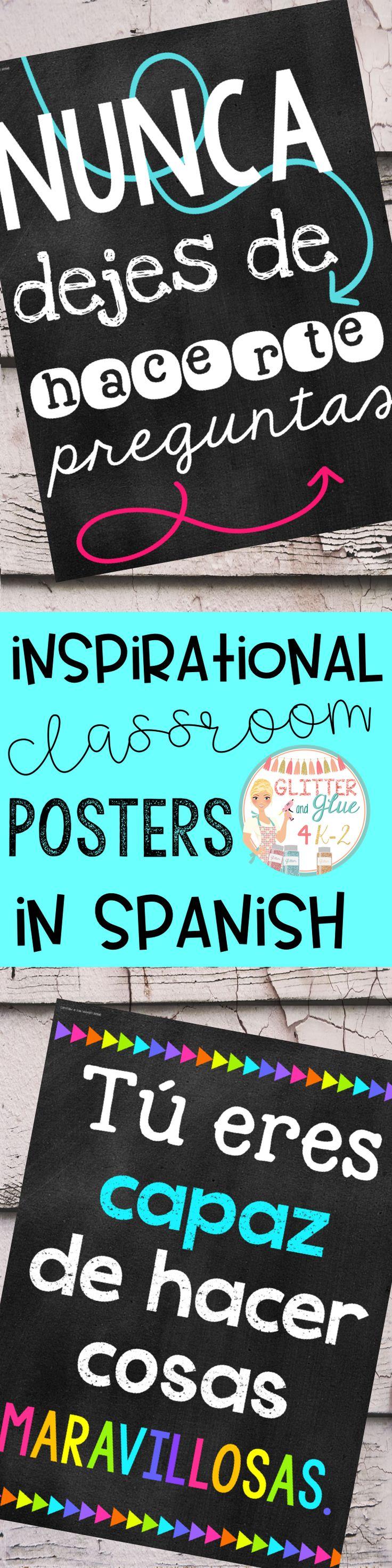 Ten Fun, Bright, & Inspirational Posters In Spanish {Chalkboard Theme}