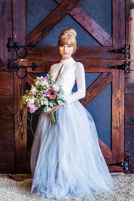 Bride wearing a grey tulle wedding skirt at Romantic Wedding elopement by Myrtle Beach designer Corina Silva
