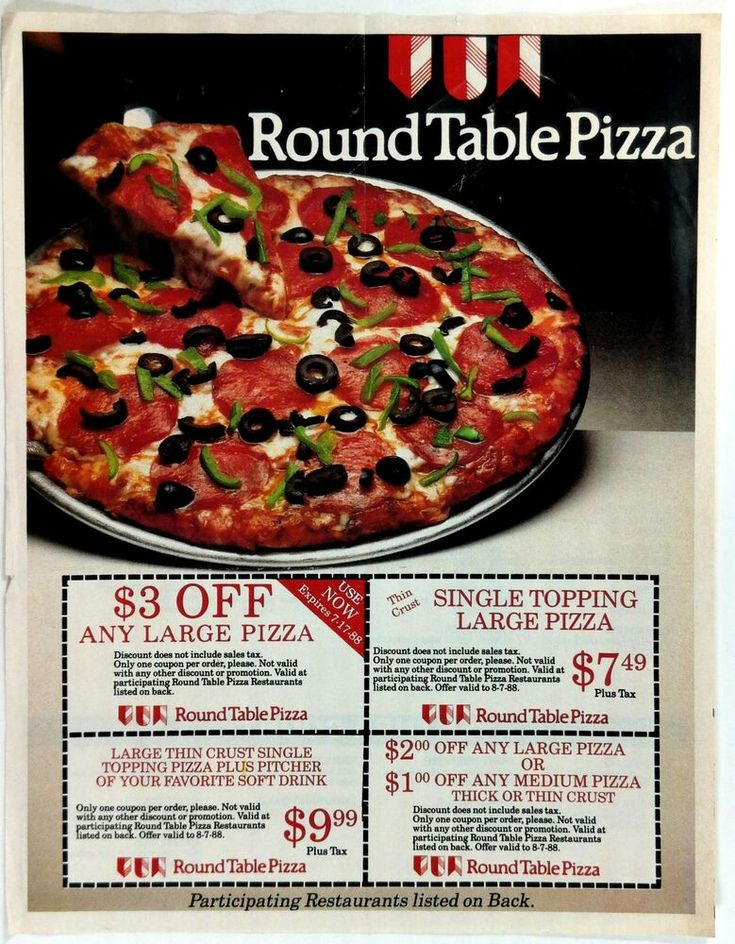 1988 Round Table Advert Mailer, Round Table Toppings
