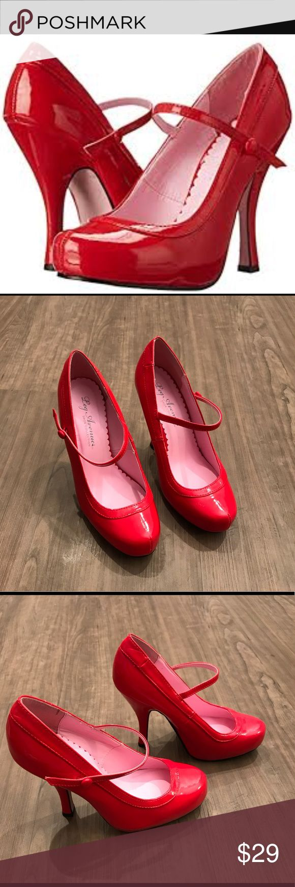"Leg Avenue woman's Baby Doll Mary-Jane pump - Red Fun and fabulous Baby Doll Mary-Jane pump in Red. Shiny Cherry Red is sure to be a show stopper and head turner!  Synthetic Synthetic sole Heel measures approximately 4 1/4"" Platform measures approximately 1/2"" Red patent leather MaryJanes pumps with 1"" concealed P/F and 4"" heels. Leg Avenue Shoes Heels"