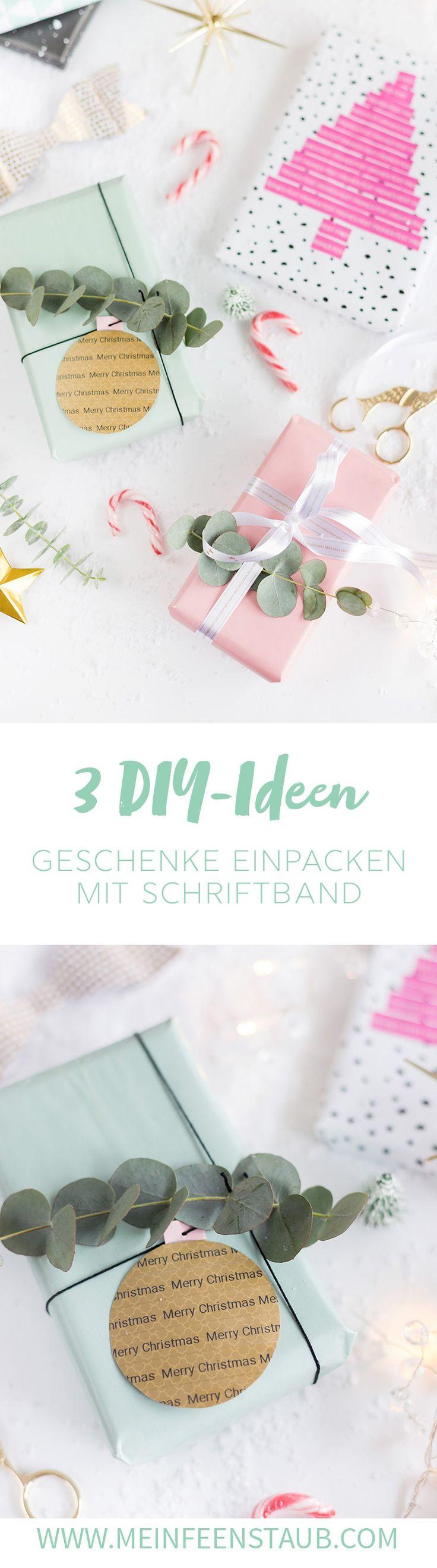 3 DIY Ideen zum Weihnachtsgeschenke verpacken mit Schriftband