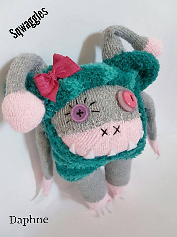 """Sock monster. 10"""" teddy bear Sqwaggle sock monster by brightgreentangerine on Etsy"""