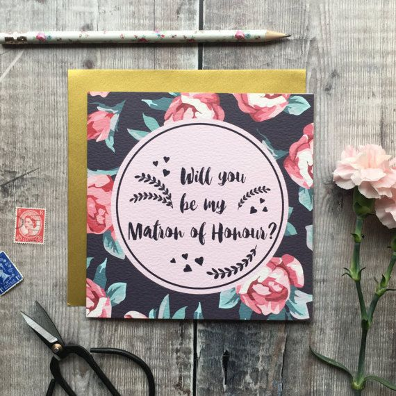 Will You Be My Matron Of Honour Card  Luxury Wedding card