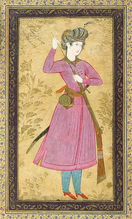 Persian youth with a gun, Album of Polovtsov. Gouache. 16x6 cm. 1680s. Held by: State Hermitage Museum.