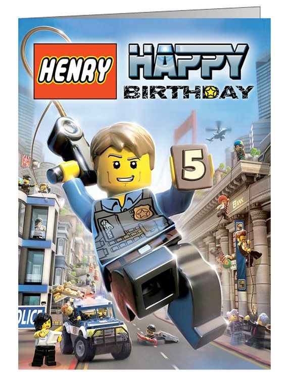 Lego City Undercover Personalised Birthday by CardsByCraftyCat, £2.95