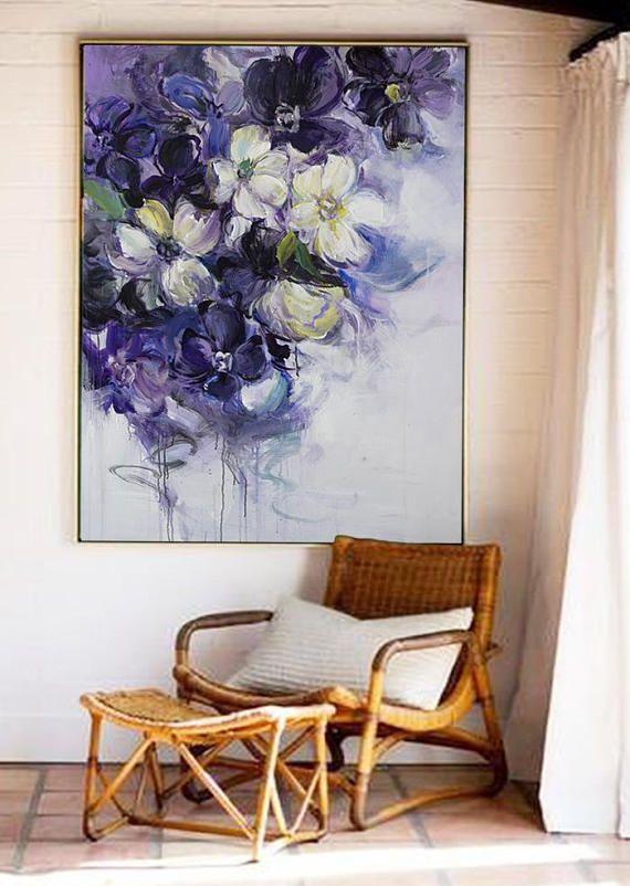 Große Wandkunst, abstrakte Acryl-Malerei, Original-Gemälde, Ölgemälde, Leinwand Kunst, große Leinwand Kunst, Gemälde auf Leinwand, Blumenkunst